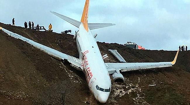 Trabzon'da uçak pistten çıktı: 162 yolcu zor anlar yaşadı