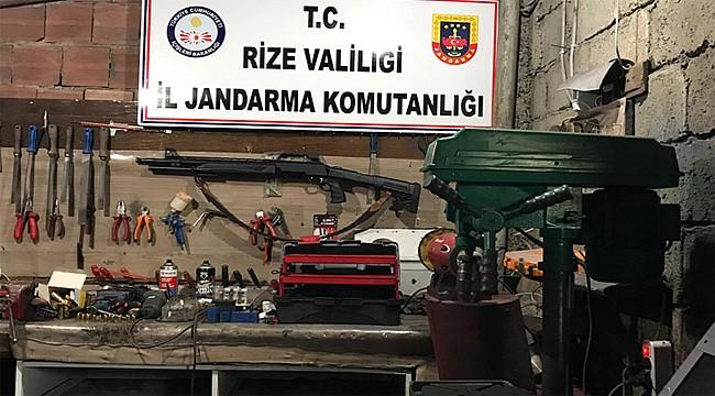Rize Jandarmasından kaçak silah atölyesine baskın