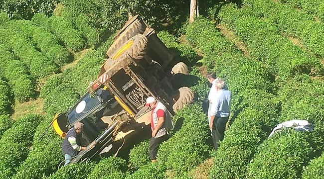 Muradiye'de iş makinesi 100 metreden çaylığa yuvarlandı