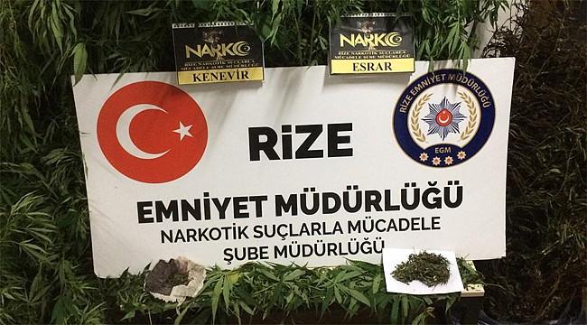 Rize'de uyuşturucu tacirinin evine operasyon