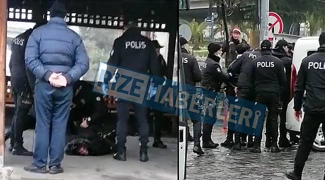 Rize'de gündüz vakti alkol alan gençler Polise zor anlar yaşattı