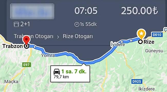 Rize-Trabzon arası otobüs bileti fiyatları resmen uçtu!