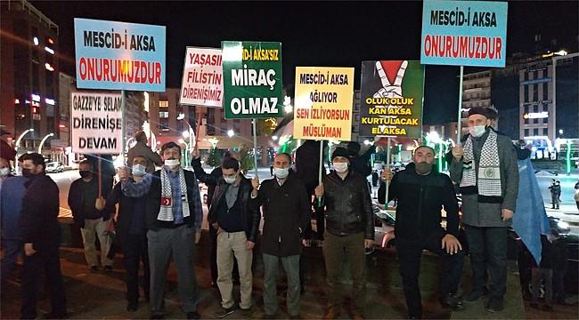 Rize'den İsrail'e Mescid-i Aksa protestosu